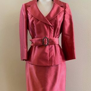 Kay Unger Watermelon Silk Suit with Jeweled Belt